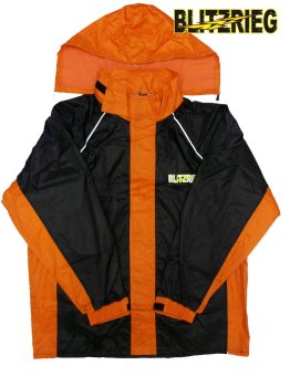 Blitzkrieg(R) MJ-Series MJ-51 Motorcycle Ultra Durable RainCoat &Jacket Set With Pants Touring (Neon Orange) - 2