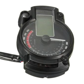 Blue Backlight LCD Digital Motorcycle Motorbike Speedometer Odometer Tachometer - intl - 4