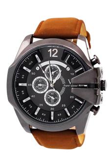 Bluelans Men Brown Faux Leather Strap Watch