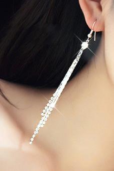 Bluelans Women Rhinestone Party Drop Tassels Linear Earrings Silver - picture 2