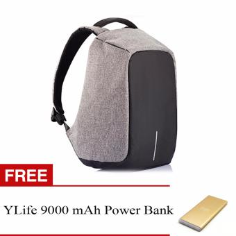 BOBBY Anti-Theft Backpack by XD Design (Grey) With FREE YLife 9,000 mAh Power Bank (Gold)