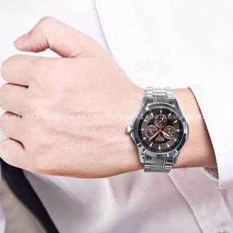 BOSCK Men's Russian Chronograph Style Silver Style Stainless Steel Strap Watch (Black) - 4