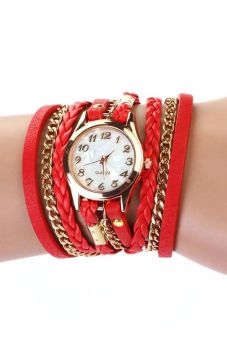 Braided Winding Rivet Leather Strap Bracelet Wrist Watch - Red
