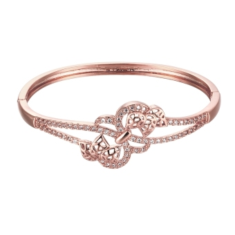 Brass Bangle Bracelet Embedded with AAA Zircon with An Opening & Hollow Leaves Golden & Rose Golden Fashional Accessories for Women (Intl)