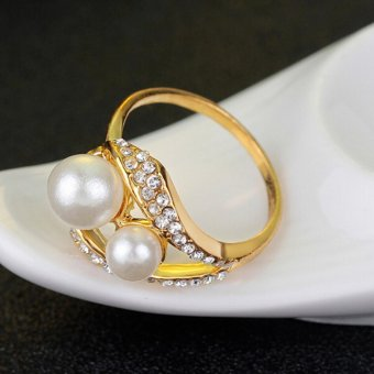 Bridal Wedding Party Jewelry Set Crystal Pearl Necklace EarringsRing - intl - 5