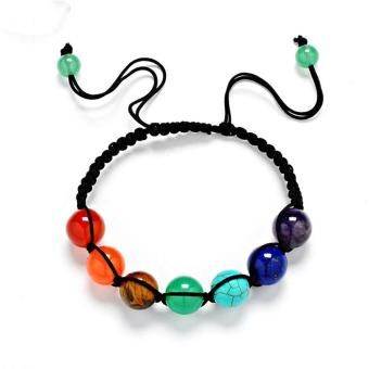 Buddha Beaded Bracelets Arm Cuff Color Stone Lava 7 Chakra HealingAmethyst Agate Charm Bracelets Bangles for Women Men - intl - 5
