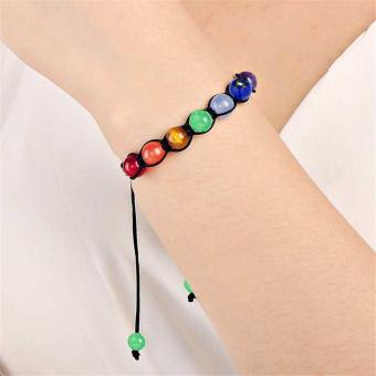 Buddha Beaded Bracelets Arm Cuff Color Stone Lava 7 Chakra HealingAmethyst Agate Charm Bracelets Bangles for Women Men - intl - 2