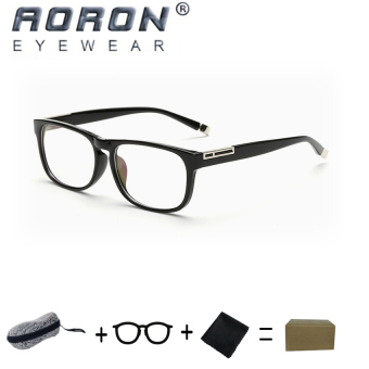 [Buy 1 Get 1 Freebie] AORON Brand Retro Reading Glasses Anti-fatigue Computers Glasses Anti-blue Light Eyeglasses 3629(Black) - intl