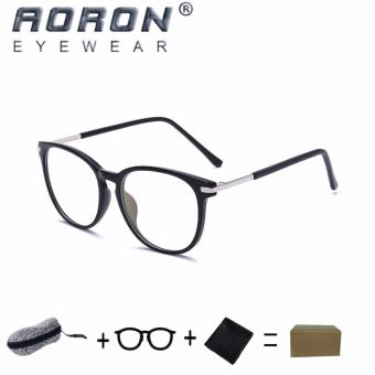 [Buy 1 Get 1 Freebie] AORON Brand Retro Reading Glasses Anti-fatigue Computers Glasses Anti-blue Light Eyeglasses 3631(Black) - intl