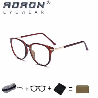 [Buy 1 Get 1 Freebie] AORON Brand Retro Reading Glasses Anti-fatigue Computers Glasses Anti-blue Light Eyeglasses 3631(Tea) - intl