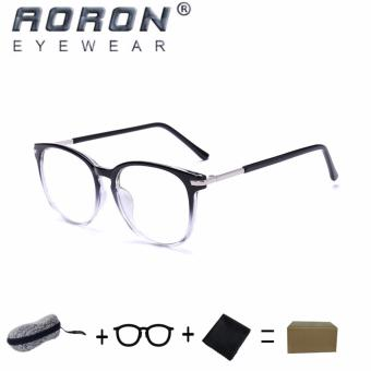 [Buy 1 Get 1 Freebie] AORON Brand Retro Reading Glasses Anti-fatigue Computers Glasses Anti-blue Light Eyeglasses 3631(Transparent Black) - intl