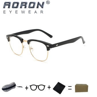 [Buy 1 Get 1 Freebie] AORON Brand Retro Reading Glasses Anti-radiation Computers Glasses Anti-blue Light Eyeglasses 5162(Black) - intl