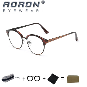 [Buy 1 Get 1 Freebie] AORON High Quality Fashion Retro Anti-allergy Reading Glasses Eyewear Anti-fatigue Computers Eyeglasses 847(Tea Bronze) - intl