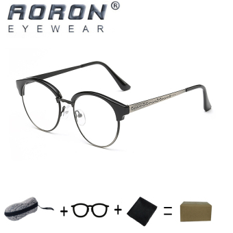 [Buy 1 Get 1 Freebie] AORON High Quality Fashion Retro Anti-allergyReading Glasses Eyewear Anti-fatigue Computers Eyeglasses 847(LightBlack Silver) - intl
