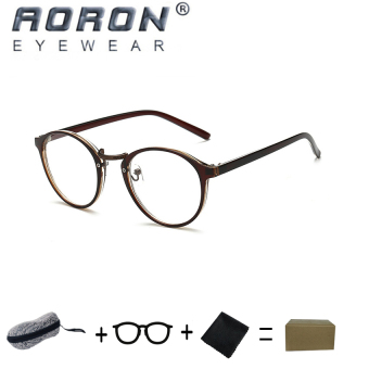 [Buy 1 Get 1 Freebie] AORON High Quality Fashion Retro Anti-blueLight Reading Glasses Eyewear Anti-fatigue Computers Eyeglasses851(Tea) - intl
