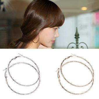 BUYINCOINS 1Pair Women Fashion Big Circle Earrings Hoop Dangle Ear Clips Silver Gold Color