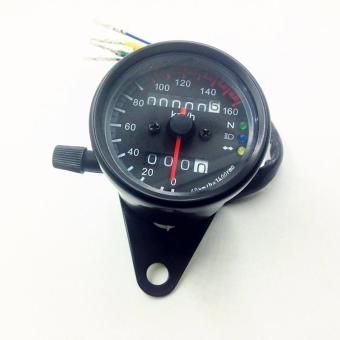 BUYINCOINS LED Backlight Signal Motorcycle Odometer Speedometer Gauge Cafe Racer KM/H - intl