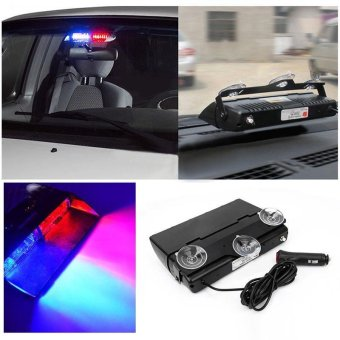 BUYINCOINS NEW Car 16 LED Red/Blue Police Strobe Flash Light Dash Emergency Flashing Light Multicolor - intl