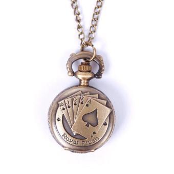 BUYINCOINS Vintage Retro Unisex Poker Pattern Quartz Chain Pendant Pocket Watch Necklace