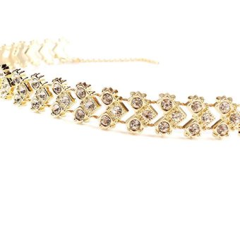 BUYINCOINS Women Boho Gold Choker Collar Rhinestone Crystal PendantChain Necklace Jewelry Gold - intl - 4