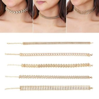 BUYINCOINS Women Boho Gold Choker Collar Rhinestone Crystal PendantChain Necklace Jewelry Gold - intl - 2