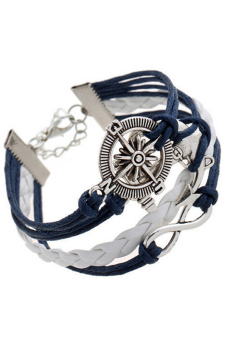 Buytra Charm Bracelet Anchor Faux Leather Silver Plated DIY Navy