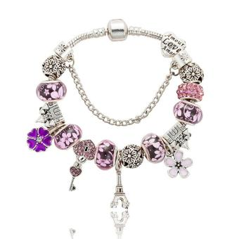 Candy Online Europe and the United States trendy 925 Silver Pandora charm bracelet crystal bracelet B16008 Pink