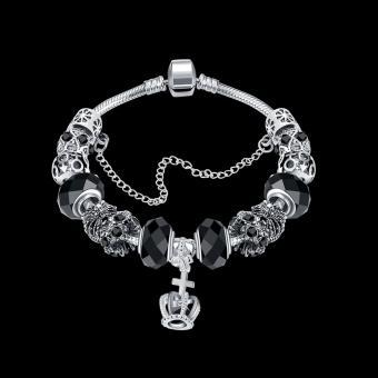 Candy Online Europe Trendy Silver Pandora Charm Bracelet Crystal Bracelet PDRH045 (Black) - 2