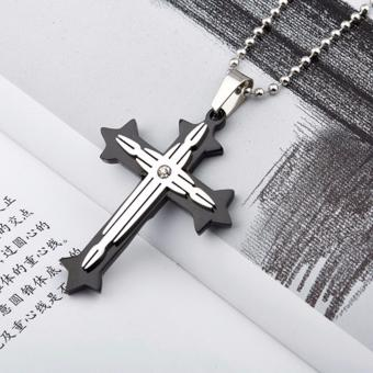 Candy Online Fashion 2-layer Cross Pendant Stainless Steel CrossNecklace EX218 (Black)