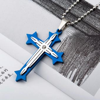Candy Online Fashion 2-layer Cross Pendant Stainless Steel CrossNecklace EX218 (Blue)