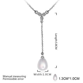 Candy Online Fashion Women's Platinum Water Droplets Pearls Pendant Necklace Jewelry LKNPLN010 - 3