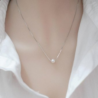 Candy Online Korean Version Of The Beautiful Fashion 925 Silver Pearl Necklace Simple Pendant Jewelry XL002