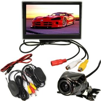 Car 5″ LCD Monitor IR Wireless Rear View Backup Camera Reversing Waterproof Kit