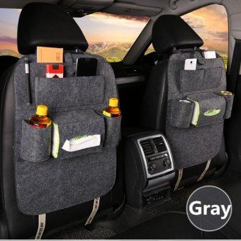 Car Back Seat Organizer Hanging Bottle Holder Travel Storage Bag Box Case Kitchen Multi-Pocket Set of 2 (GRAY)