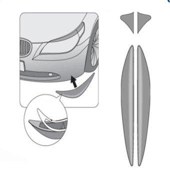 Car Body Bumper Anti-rub Strips Auto Exterior Scratches ProtectorCar Decoration Corner Thickening Crash Bar PVC 2 pcs- Black - intl - 5