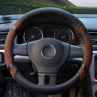 Car Steering Wheel Covers,Diameter 15 inch,PU Leather,for Summer,coffee-Size M-intl