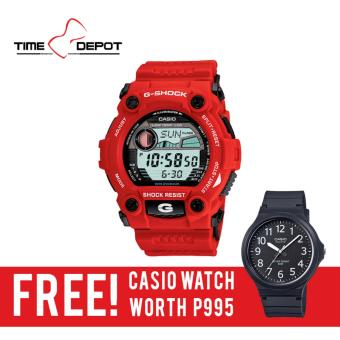 Casio G-Shock Men's Red Resin Strap Watch G-7900A-4D with FREE Casio Watch MW-240-1B