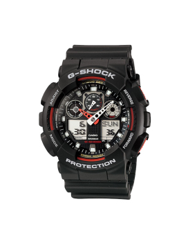 Casio G-Shock Men's Black Resin Strap Watch GA-100-1A4D with 1 Year Warranty (T1Y)