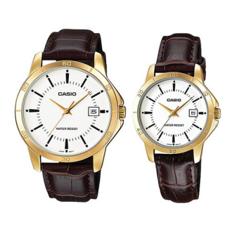 Casio MTP/LTP-V004GL-7AUDF Couple Leather Strap Watch (Brown)