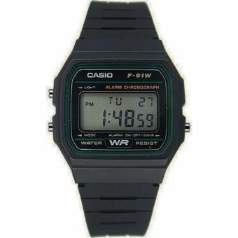 Casio Vintage Unisex Black Resin Strap Watch F-91W-3