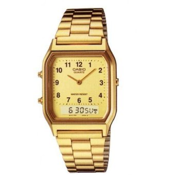 Casio Vintage Unisex Gold Plated Stainless Steel Strap Watch AQ-230GA-9BHDF
