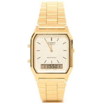 Casio Vintage Unisex Gold Plated Stainless Steel Strap Watch AQ-230GA-9DHDF