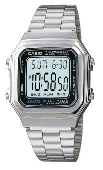Casio Women's Silver Stainless Steel Band Watch A178WA-1ADF