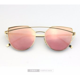 Cat Eye Sunglasses Twin-Beams Sun Glasses Mirror Sunglasses - intl