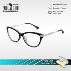 Cats Eye Style Replaceable Computer Eyeglasses Unisex_E175_Gray Optical Frame Multi-coated Computer