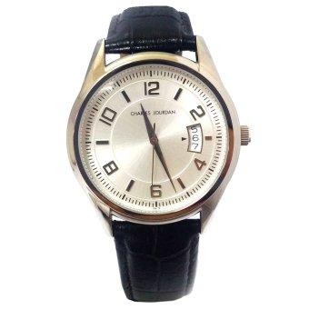 Charles Jourdan Notion Black Leather Strap Watch