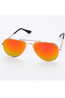 Children Unisex Classic Retro Style Sunglasses (Golden Red)
