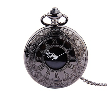 Classical Black Double Display Roman Scale Black and White GoldWhite Nostalgia Pocket Watch