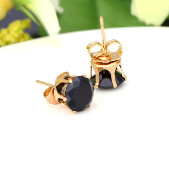 Clear Crystal Zircon 18K Gold Plated Crown Ear Stud Earring Jewelry Gift for Women Lady (Intl)