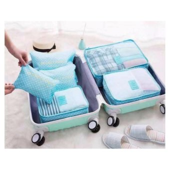 Clothes Storage Travel Luggage Organizer Bag 6pcs. Set(Polka dotgreen) with free Headset w/ mic